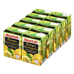 Wesergold Orangen Fruchtsaftgetränk 20 % Fruchtgehalt - 10 x 0,20 l Trinkpäckchen