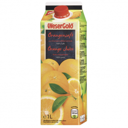 Wesergold Orangensaft 100 % Fruchtgehalt - 1,00 l Packung